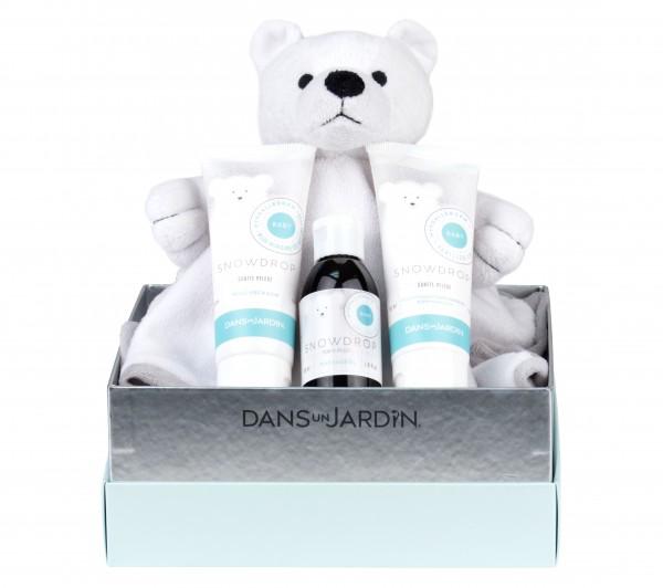 Snowdrop sanfte Babypflege Geschenkset mit 3 x 50ml Waschschaum, Körpermilch und Schmuse Eisbär von Dans un Jardin im Levinia Maria e-Shop kaufen